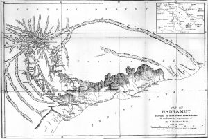 Imam Sharif's map of the Bents' expedition to the Wadi Hadramaut, 1894. From Theodore Bent's 1894 paper for the Royal Geographical Society. Image © The Bent Archive