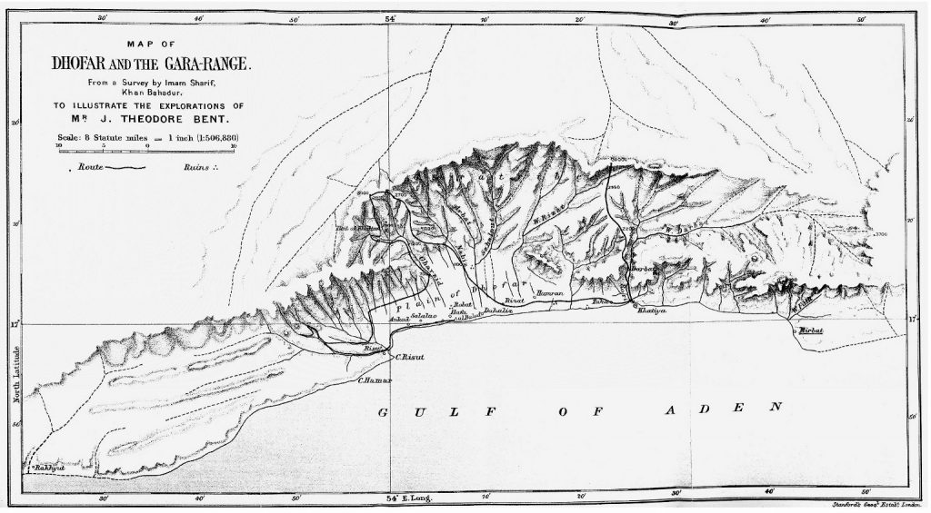 Dhofar and the Gara Range. From Theodore Bent's 1895 paper for the Royal Geographical Society. Image © The Bent Archive