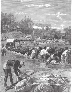 Crossing a stream. The Pioneer Corps of the British South Africa Company on the way to Mashonaland