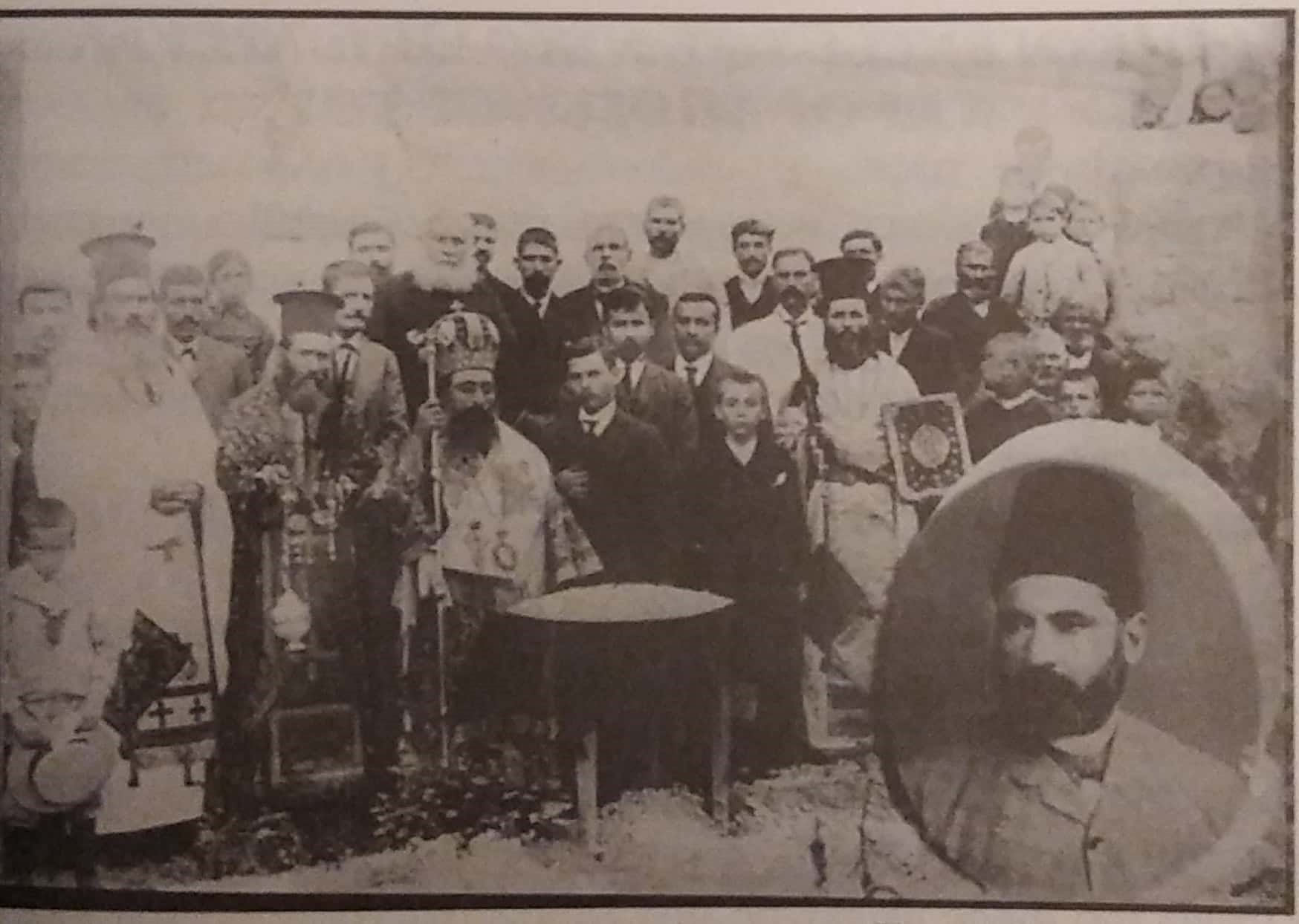 """Fig. 5. The memorial of Kostis Sakellaridis, Frangiskos' brother, with his inset image at the bottom right. Source: M. Chiotis, """"The Roots of Our Generation"""", p. 243."""